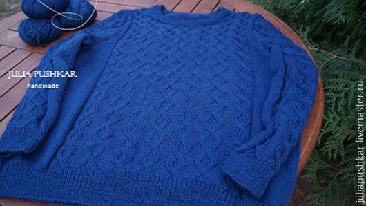 Кофты и свитера ручной работы. Ярмарка Мастеров - ручная работа. Купить Вязаный свитер. Handmade. Тёмно-синий, свитер вязаный
