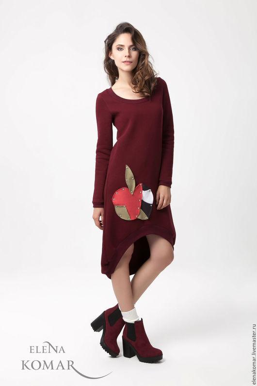 Платья ручной работы. Ярмарка Мастеров - ручная работа. Купить Платье-туника бордовое с асимметричным низом (яблоко). Handmade. Бордовый