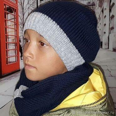 Works for children handmade. Livemaster - original item Knitted hat and Snood. Handmade.