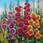 Картина маслом на холсте цветы мальвы в интерьер в подарок женщине