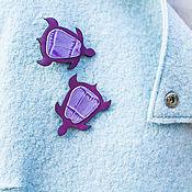 Украшения handmade. Livemaster - original item Brooch Turtle mini / natural leather. Handmade.