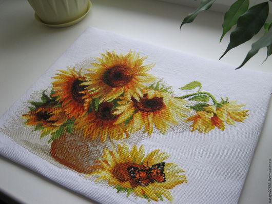 Картины цветов ручной работы. Ярмарка Мастеров - ручная работа. Купить Вышивка. Handmade. Подсолнухи, картина в подарок, солнечный