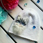 Аксессуары ручной работы. Ярмарка Мастеров - ручная работа Шапка с котом. Handmade.