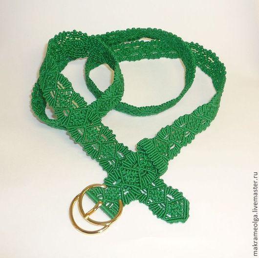 """Пояса, ремни ручной работы. Ярмарка Мастеров - ручная работа. Купить Плетеный женский пояс """"Изумруд"""". Handmade. Зеленый, Макраме"""