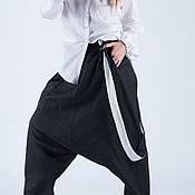 Одежда handmade. Livemaster - original item Black linen trousers with suspenders - PA0732LE. Handmade.