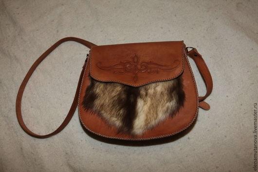 Женские сумки ручной работы. Ярмарка Мастеров - ручная работа. Купить рыжая сумка с мехом. Handmade. Однотонный, натуральные материалы
