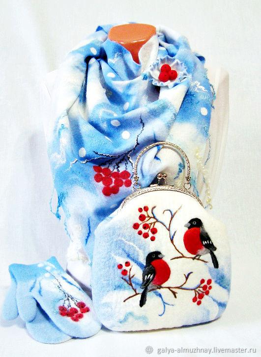 """валяный комплект """"Снегири 2"""" ( бактус, варежки, сумка), Комплекты головных уборов, Белгород,  Фото №1"""