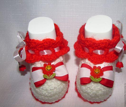 """Для новорожденных, ручной работы. Ярмарка Мастеров - ручная работа. Купить Пинетки-туфельки """"Аленький цветочек"""". Handmade. Комбинированный, туфельки"""