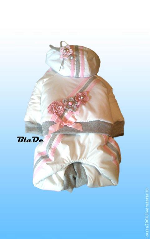 Одежда для собак, ручной работы. Ярмарка Мастеров - ручная работа. Купить Зимний комбинезон. Handmade. Белый, зимняя одежда, синтепон