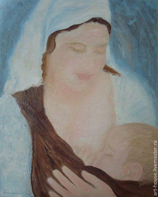 """Люди, ручной работы. Ярмарка Мастеров - ручная работа. Купить Картина маслом """"Дарующая жизнь"""". Handmade. Голубой, дитя, счастье"""