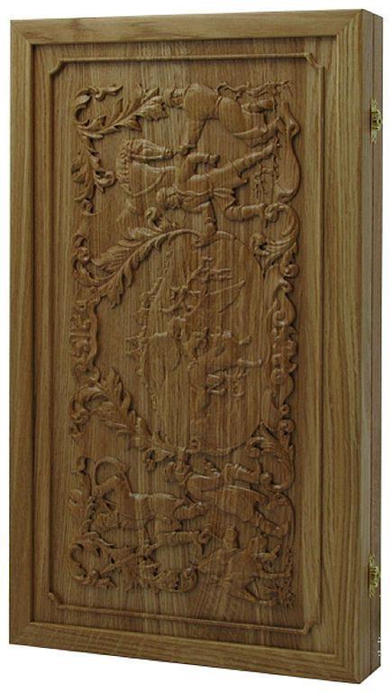 Настольные игры ручной работы. Ярмарка Мастеров - ручная работа. Купить Нарды, шашки Соколиная охота (дуб)  (11901). Handmade.