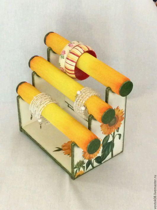 Мебель ручной работы. Ярмарка Мастеров - ручная работа. Купить Подставка под браслеты Солнечный подсолнух. Handmade. Желтый, органайзер