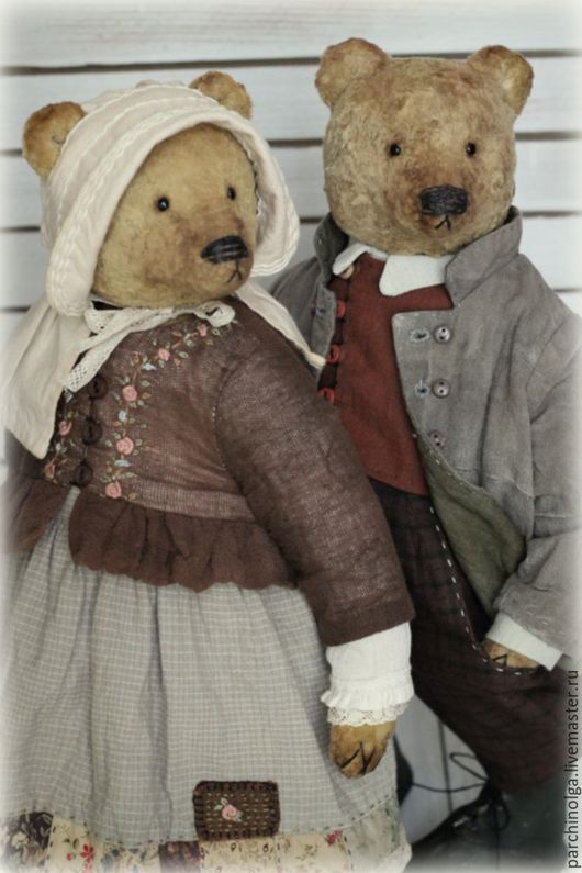 Мишки Тедди ручной работы. Ярмарка Мастеров - ручная работа. Купить Гордей и Матрёна в повторе. Handmade. Коричневый, винтажный стиль