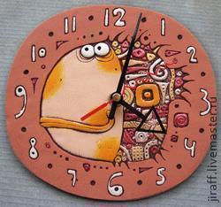 """Часы для дома ручной работы. Ярмарка Мастеров - ручная работа. Купить Рыба """"Куба"""". Handmade. Керамика, сувениры и подарки"""