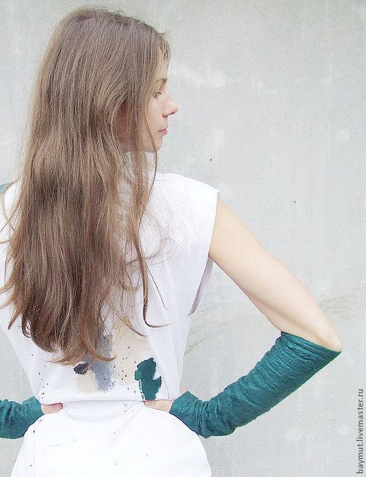 Варежки, митенки, перчатки ручной работы. Ярмарка Мастеров - ручная работа. Купить Длинные митенки Teal. Handmade. Однотонный