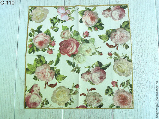С-110 `Винтажные розы на светлом фоне` 25*25 см