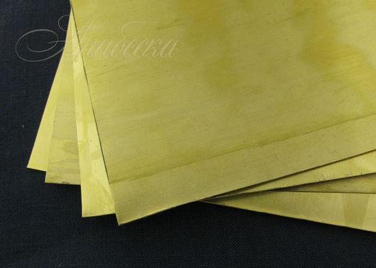 Лист латунный 0.5мм промышленный марки Л63 Россия 19.5х14.5см удлиненный