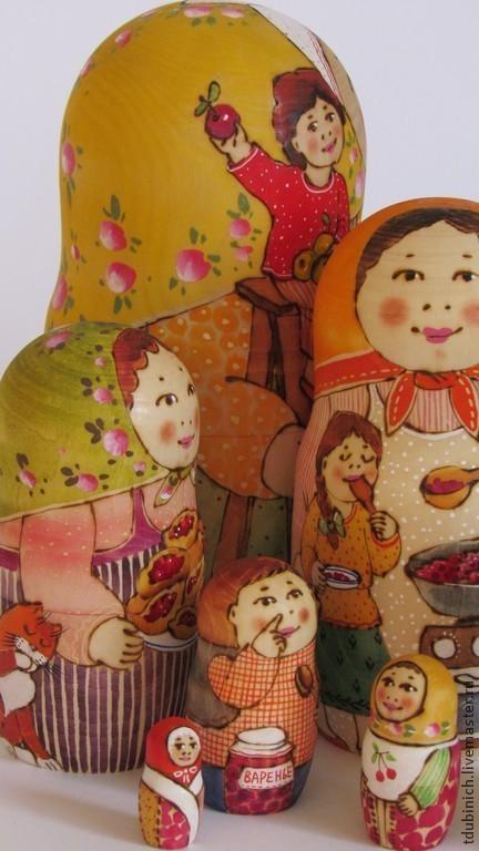 """Матрешки ручной работы. Ярмарка Мастеров - ручная работа. Купить Матрешка 7-местная """"Яблоки, варенье, пироги"""", матрешка с. Handmade."""