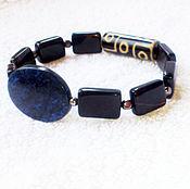 Украшения handmade. Livemaster - original item Bracelet mens bead Dzi 9 eyes (black agate and sodalite). Handmade.