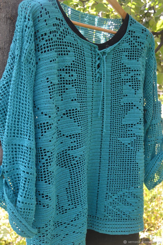 Shirt - tunic 'Dragons', handmade, boho, Tunics, Samara,  Фото №1