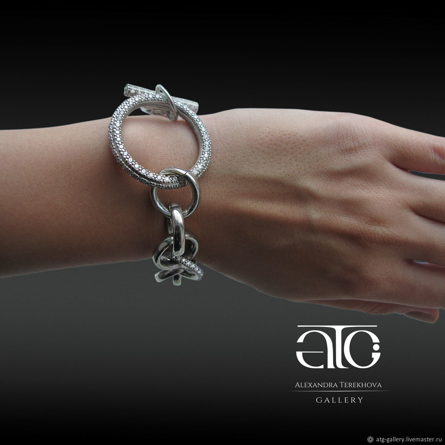Made to order. Luxurious, large bracelet solid silver! Very beautiful, very stylish!