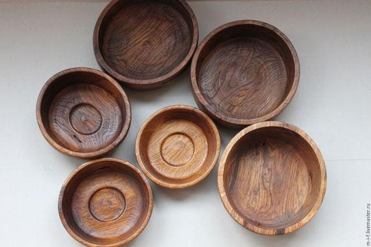 Тарелки ручной работы. Ярмарка Мастеров - ручная работа. Купить Набор из 6 деревянных мисок-тарелок из дуба. (6). Handmade.