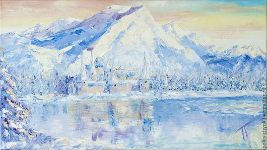 Пейзаж ручной работы. Ярмарка Мастеров - ручная работа. Купить Состояние 2. Handmade. Голубой, горы, зима, природа