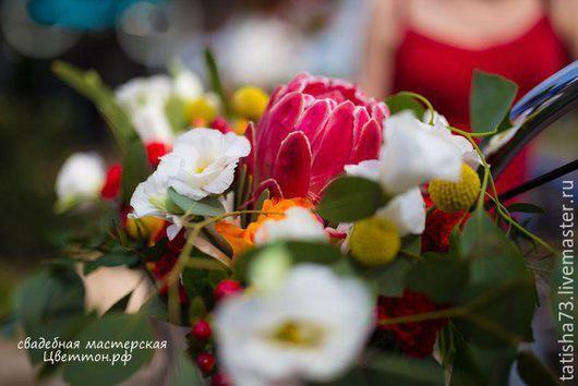 Свадебные цветы ручной работы. Ярмарка Мастеров - ручная работа. Купить Велосипедная свадьба. Handmade. Ярко-красный, букет невесты