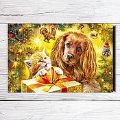 """Открытки ручной работы. Ярмарка Мастеров - ручная работа Открытка для посткроссинга """"С Новым годом!"""" (кот и собака). Handmade."""