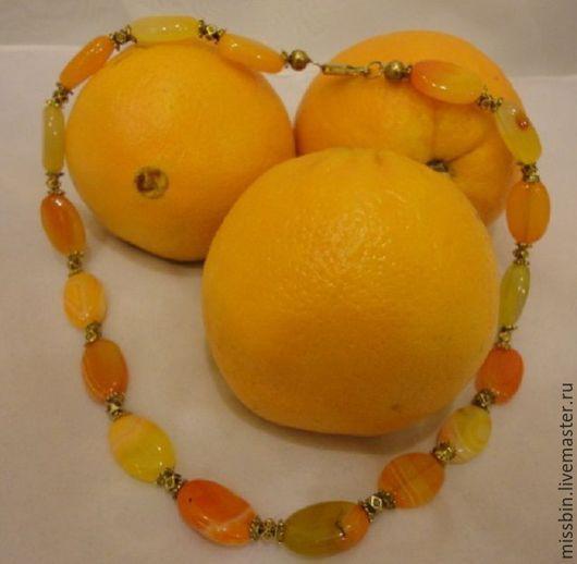 Колье, бусы ручной работы. Ярмарка Мастеров - ручная работа. Купить «Апельсиновые леденцы» бусы из агатов. Handmade. Оранжевый, агат