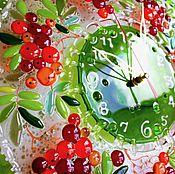 Для дома и интерьера ручной работы. Ярмарка Мастеров - ручная работа часы из стекла, фьюзинг   Рябина кудрявая. Handmade.