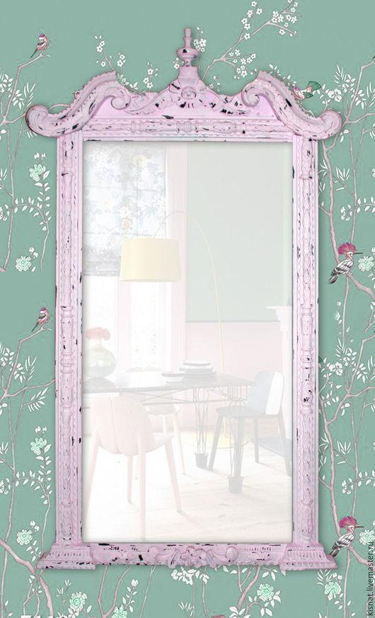 """Зеркала ручной работы. Ярмарка Мастеров - ручная работа. Купить Старинная рама с зеркалом """"Розовая №3"""". Handmade. Бледно-розовый"""