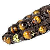 Украшения handmade. Livemaster - original item Set Shamballa bracelets with tiger`s-eye stone suede. Handmade.