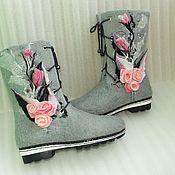 """Обувь ручной работы. Ярмарка Мастеров - ручная работа Валяные сапожки """"Розовые розы"""". Handmade."""