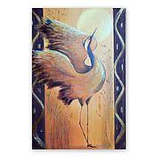 Картины и панно handmade. Livemaster - original item Painting Crane at dawn with relief elements. Handmade.