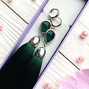 Украшения ручной работы. Ярмарка Мастеров - ручная работа Серьги-кисти Emerald Drop изумрудные зеленые малахитовые. Handmade.
