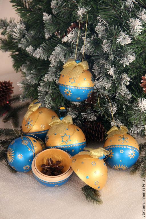 """Новый год 2017 ручной работы. Ярмарка Мастеров - ручная работа. Купить Шары-открывные """"Blue&Gold"""". Handmade. Шар открывной"""