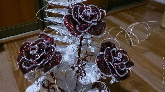 Интерьерные композиции ручной работы. Ярмарка Мастеров - ручная работа. Купить Роза кустовая 2.. Handmade. Бордовый, розы из бисера