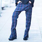 Одежда ручной работы. Ярмарка Мастеров - ручная работа Женские модные брюки в клетку, Брюки из хлопка. Handmade.