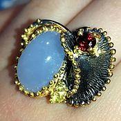 Украшения handmade. Livemaster - original item Blue lake ring with blue chalcedony. Handmade.