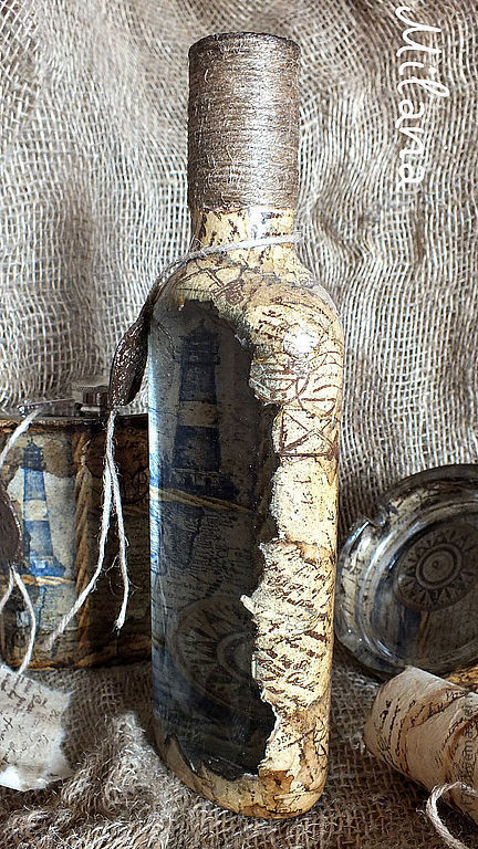 бутылка, бутылки, бутылка декупаж, бутылка обратный декупаж, бутылка в подарок,бутылка ручной работы, бутылка мужской подарок, бутылка старая карта, подарок моряку
