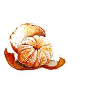 """Картины и панно ручной работы. Ярмарка Мастеров - ручная работа Акварель """"Мандарин"""". Handmade."""