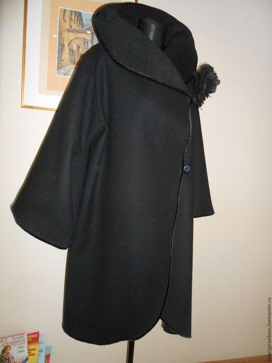 Большие размеры ручной работы. Ярмарка Мастеров - ручная работа. Купить Пальто с бархатом Большой размер. Handmade. Черный