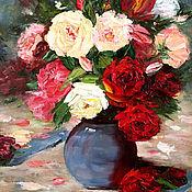 Картины ручной работы. Ярмарка Мастеров - ручная работа Картина маслом Розы. Handmade.