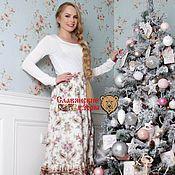 Одежда handmade. Livemaster - original item Satin beige skirt with flounce. Handmade.