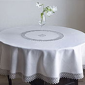 Для дома и интерьера handmade. Livemaster - original item Tablecloth linen 100% grey satin D. .180 cm.. Handmade.
