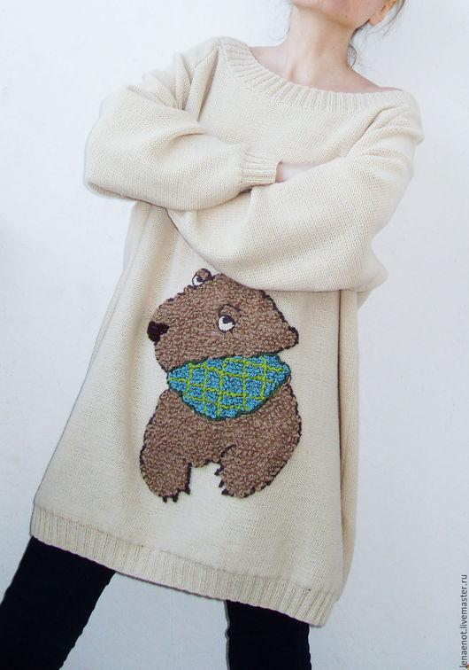 Кофты и свитера ручной работы. Ярмарка Мастеров - ручная работа. Купить Светлый джемпер с бурым медведем 2. Handmade.
