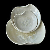 "Посуда handmade. Livemaster - original item Set of porcelain plates ""White Crystal"" - 2. Handmade."