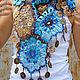 Шали, палантины ручной работы. Ярмарка Мастеров - ручная работа. Купить Легкая шаль платок шарф с кистями на лето осень Голубой с Песочным. Handmade.