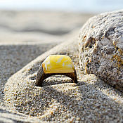 Украшения handmade. Livemaster - original item Wooden ring with Baltic amber infinity. Handmade.